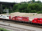 CP 778 is running as part of an eight-engine set westbound west of Muskego Yard 